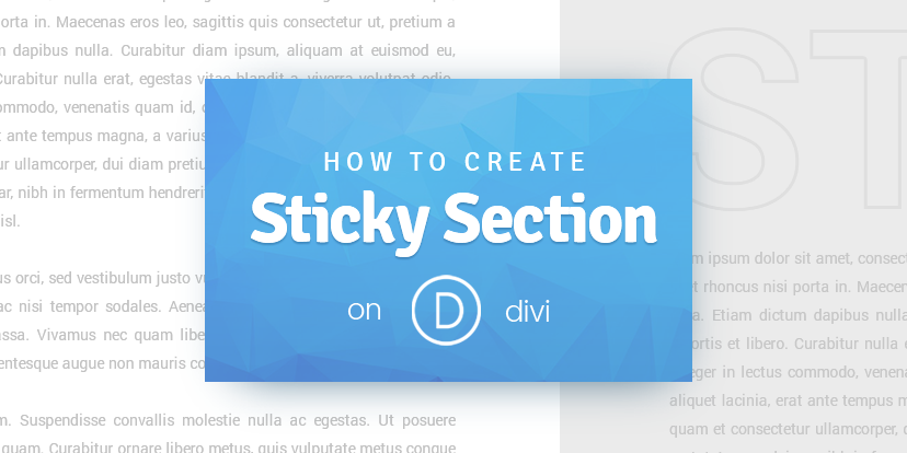 How to create Sticky Section on Divi